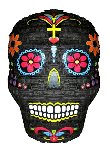 Day of the Dead Skull Halloween Pinata, Decoration, Party Game and Candy Holder, Large, Black, Paper Mache Molded Handcraft
