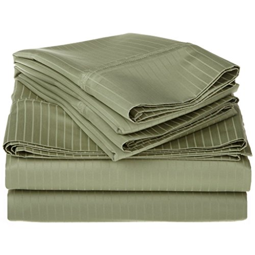 100% Egyptian Cotton 1000 Thread Count Oversized Full Sheet Set Stripe, Sage by Superior