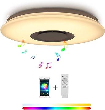 36W LED Lámparas De Techo Música Bluetooth Altavoz Con Smartphone ...