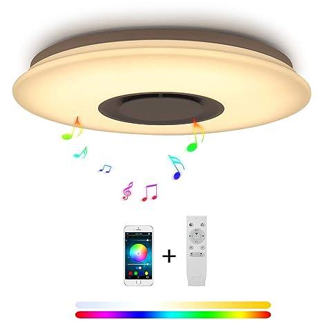 24W Música Bluetooth Altavoz LED Luces De Techo Smartphone App Control, RGB Que Cambia De Color, Montaje Rasante Para La Sala De Estar, Dormitorio, ...