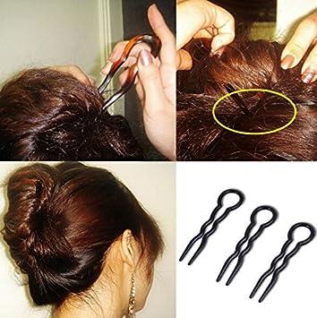 Lady Large Wavy U Shaped Chignon Magic Grip Spiral Hair Clip Bun Pins Stick Braid Twist Hair Styling Accessory Tool (Brown) erioctry