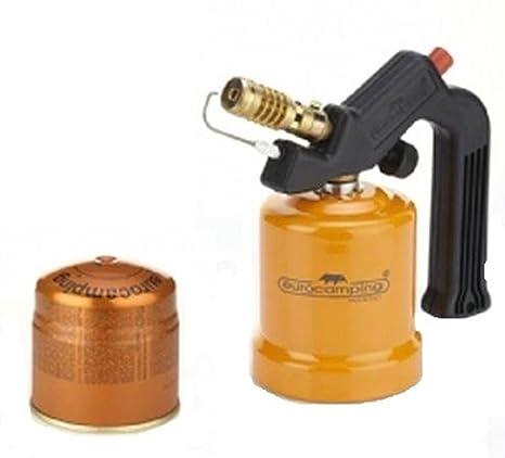 EUROCAMPING Soldador de Gas Encendido con Cartucho + 1 Cartucho de Gas
