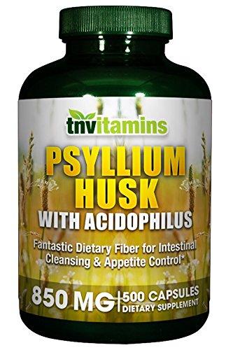 TNVitamins Psyllium Husk (500 Capsules) 850 Mg w/Acidophilus Super Potent