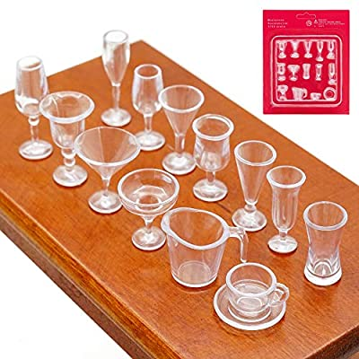 Odoria 1:12 Miniature 14Pcs Clear Sundae Cocktail Cups Dollhouse Kitchen Accessories: Toys & Games