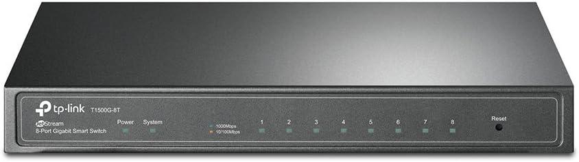 TP-Link 8 Port Gigabit Switch | Smart Managed Switch | Desktop | Lifetime Protection | 802.3af PoE or Direct DC Powered | Support Vlan, L2/L3/L4 QoS, IGMP and Link Aggregation (T1500G-8T)