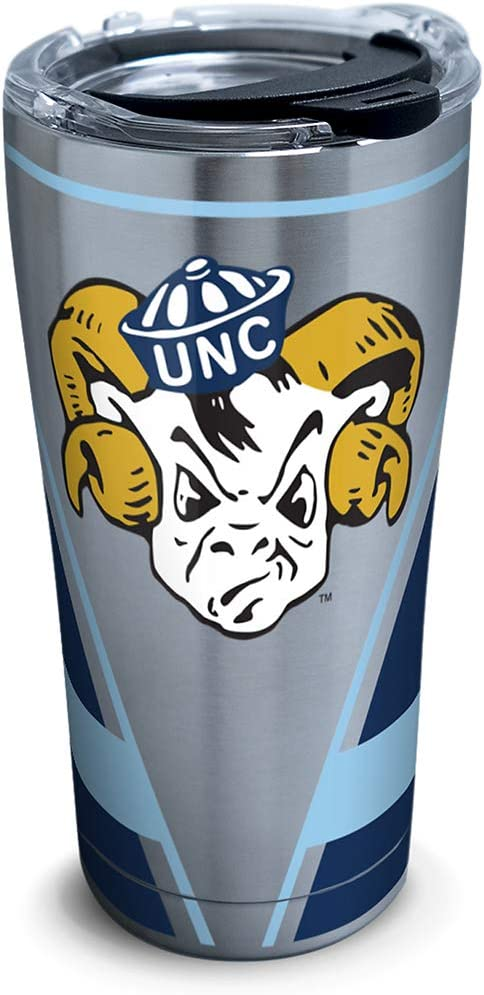 Tervis North Carolina Tar Heels Vault Stainless Steel Insulated Tumbler with Clear and Black Hammer Lid, 20oz, Silver