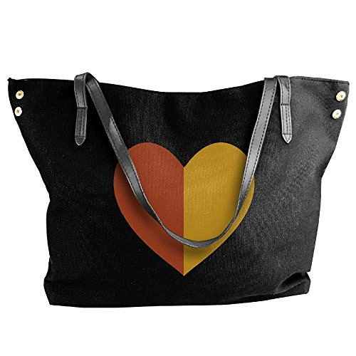 Handbag Love Women's Black Bag Brown Splicing Shoulder Ginger Large Canvas And Tote Hand qxf41I