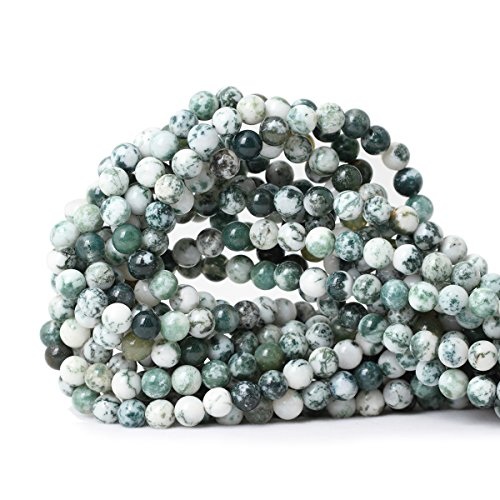 - Qiwan 60PCS 6mm Natural Tree Agate Gemstone Round Loose Beads for Jewelry Making DIY Bracelet Necklace 1 Strand 15