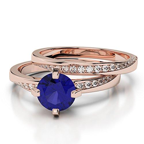 Or Rose 18carats 1CT G-H/VS sertie de diamants ronds Cut Saphir et mariée Bague de fiançailles et ensemble de Agdr-2001