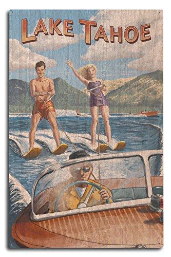 Lantern Press Lake Tahoe - Water Skiing Scene (10x15 Wood Wall Sign, Wall Decor Ready to Hang)
