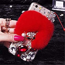 Red Fur Diamond Crystal Rhinestone Case for Oppo Mobile