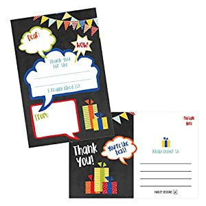 25 Chalkboard Kids Thank You Cards, Fill In Thank You Notes...