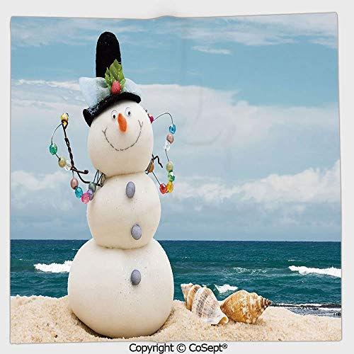 Outdoor Seashell Wall Mount - AmaUncle Quick-Dry Square Towel,Winter Vacation Holiday Theme Snowman with Seashells Sitting on Sandy Beach Coastal Decorative,Highly Absorbent Cleaning(13.77x13.77 inch),Multicolor