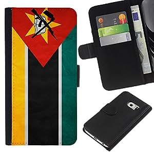 BearCase / Cuero de la tarjeta la carpeta del tirón Smartphone Slots Protección Holder /// Samsung Galaxy S6 EDGE /// Nacional bandera de la nación País Mozambique