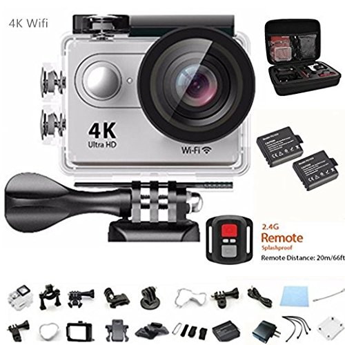 Action Camera 4K Ultra HD Action Video Camera 12MP Wifi Sports Camera Waterproof Camera 170 Degree Wide Angle Lens 2.4G Remote Control 2Pcs 1050mah Batteries with Full Accessory Kits by HuiGoriH