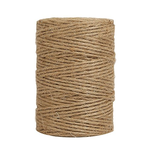 Tenn Well 300Feet Natural Jute Twine 6 Ply Arts and Crafts Jute Rope Industrial Heavy Duty Packing String For Gifts, DIY Crafts, Festive Decoration, Bundling and Gardening