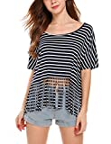 Wildtrest Women's Round Neck Black and White Striped Short Sleeve Shirt Top Black S