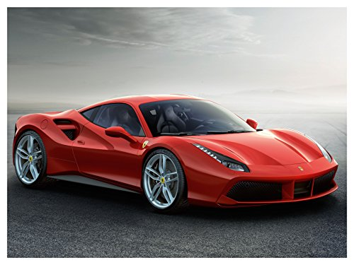 Ferrari 488 GTB (2015) Car Art Poster Print on 10 mil Archival Satin Paper Red Front Side Static View - Red Ferrari Cost