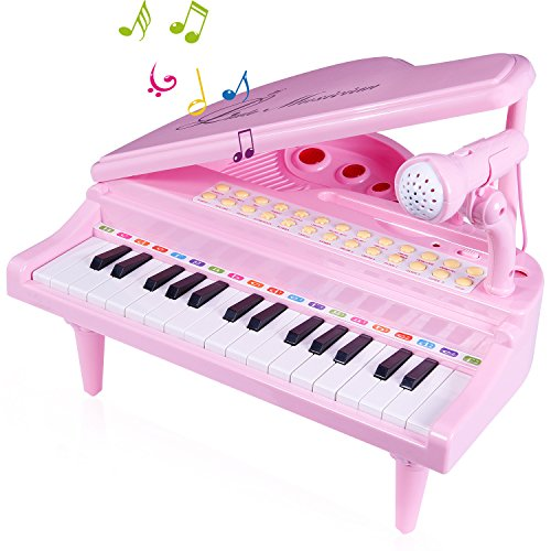 Image of the SGILE 31 Keys Musical Piano Toy with Microphone, Learn-to-Play for Girl Toddlers Kids Singing Music development, Audio link with Mobile MP3 IPad PC, Pink