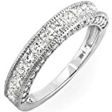 Image of 1.40 Carat (ctw) 14k White Gold Princess & Round Diamond Ladies Anniversary Wedding Matching Band Ring Stackable (Size 9)
