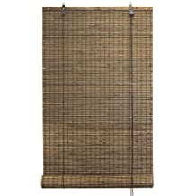 Bamboo Flat-weave Sun-filtering Roll Up Blind (24x66 Inch, Espresso)