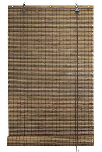 Seta Direct Bamboo Flat-weave Sun-filtering Roll Up Blind (60x66 Inch, Espresso)