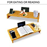 Slashome Bamboo Monitor Stand Riser Laptop Lap Desk with Storage Organizer Laptop Cellphones Cup and Daily Supplies for Home & Office