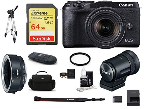 Canon EOS M6 Mark II Mirrorless Digital Camera (Black) with 18-150mm Lens and EVF-DC2 Viewfinder (Black) Bundle, Includes: Canon EF-M Lens Adapter Kit + SanDisk 64GB Extreme Memory Card (9 Items)