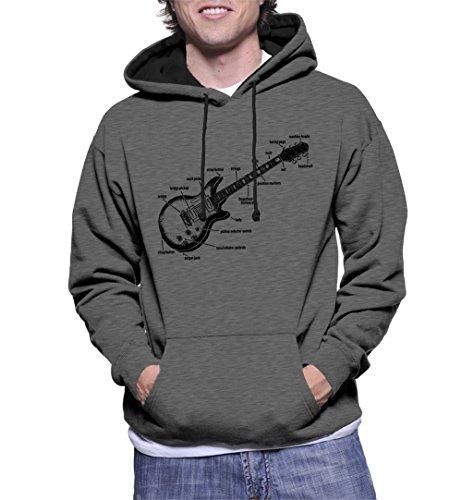 Men's Anatomy of A Guitar Two Tone Hoodie Sweatshirt (Charcoal/Black Strings, Large) -