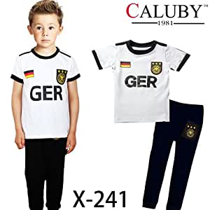 Baby Toddlers German Football Soccer Team Short Sleeves Summer Pyjamas Set-3T