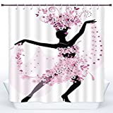 SCOCICI Fun Shower Curtain,Latin,Silhouette of a Woman Dancing Samba Salsa Latin Dances Spain and Mexico Culture Print Decorative,Pink Black,Polyester Shower Curtains Bathroom Decor Set with Hooks