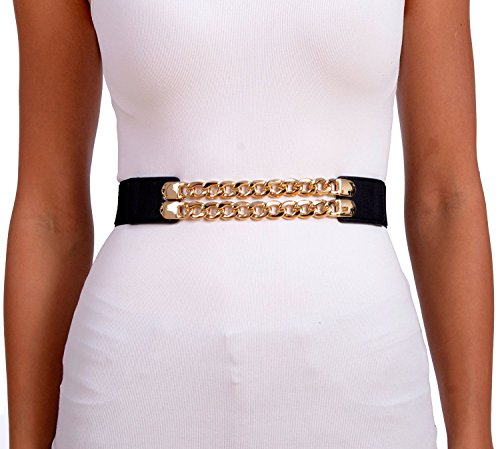 Gold Studded Belt - Sunny Belt Women's Stretch Double Gold Chain Waist Belt (Black, Small)