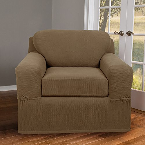 Maytex Pixel Stretch 2-Piece Slipcover Chair, Sand (Couch Slipcovers With Separate Cushion Covers)
