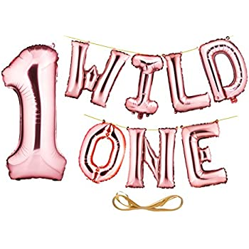 envizins gorgeous 16 wild one rose gold foil balloon letters banner large 32 number 1 boy girl first birthday animal birthday party balloons