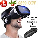 VR Goggles Virtual Reality Headset with Remote & Headphones for iPhone X 8 6 Plus SE, Samsung Galaxy S8 S7 S6 Edge Note5, 3D VR Glasses for 3D Movie & Game for 4.0-6.0' IOS & Android Smartphone, Black