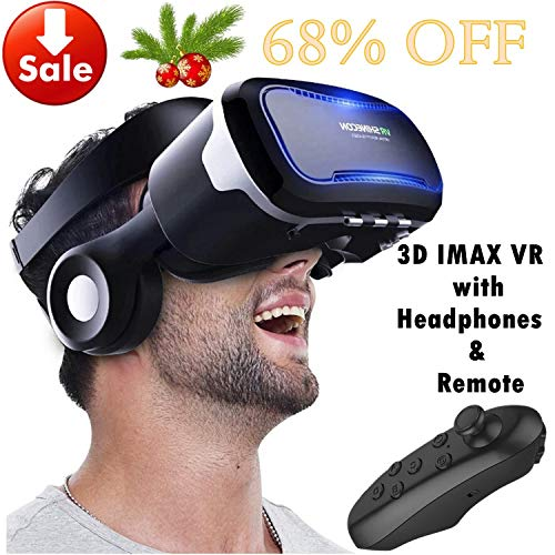 VR Goggles Virtual Reality Headset with Remote & Headphones for iPhone X 8 6 Plus SE, Samsung Galaxy S8 S7 S6 Edge Note5, 3D VR Glasses for 3D Movie & Game for 4.0-6.0