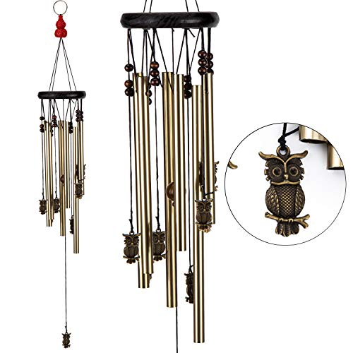 xxschy Owl Wind Chimes, 24.8 Inches Pure Hand-Made Metal Musical Wind Bells with 6 Bronze Aluminum Tubes, Mobile Wind Catcher Romantic Wind-Bell for Home, Party, Festival Decor, Garden Decoration]()