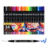 Dual Marker pens - 24 Colors Dual Tip Brush Pens with Fineliner Tip 0.4mm Art Markers Set For Adult Coloring Books, Drawing, Painting