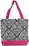 Ever Moda Pink Damask Tote Bag, Large 17-inch