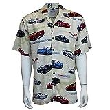 David Carey Corvette Camp Shirt - Retro Inspired - Button Up Collared Short Sleeve Tan Club Shirt, XL
