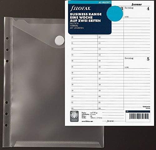 Filofax Kalendereinlage 2021 Größe A5 vertikal 1 Woche / 2 Seiten (deutsch) Nr. 21-68540 + 1 feste Prospekthülle mit Klettverschluss von PS-Handelshaus