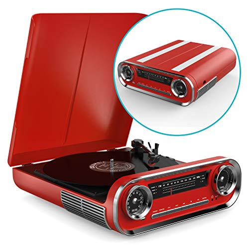 Record Player Bluetooth Vintage Vinyl Turntable with Speakers - USB MP3 Playback / Bluetooth / FM Radio / Vinyl LP Records - RCA, AUX and Headphone Output (Red)
