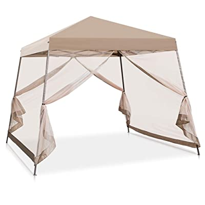 COOL Spot 10' x 10' Slant Leg Pop Up Canopy Tent w/Mosquito Netting (64 Square Feet of Shade) One Person Set-up Outdoor Instant Folding Shelter (Beige) : Garden & Outdoor