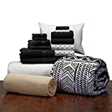 16 Piece Starter Pak Leilani Black Twin XL College Dorm Bedding and Bath Set