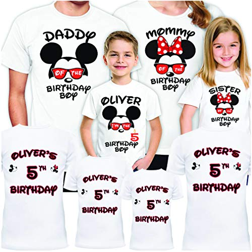 Minnie Mouse Custom Shirts (Disney Birthday Shirts Set for Family Party Mickey Matching Trip Gift)
