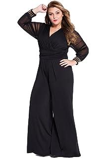 fb2af71dfc61 Cokar Womens Plus Size Jumpsuits Long Sleeve V-Neck Casual Style Set Black