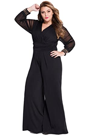 b83ba86f770b Amazon.com  Cokar Womens Plus Size Jumpsuits Long Sleeve V-Neck Casual  Style Set Black  Clothing