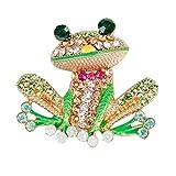 Baoblaze Enamel Frog Brooch Pin Crystal Rhinestone Animal Brooch Jewelry Accessories