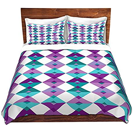 DiaNoche Designs Microfiber Duvet Covers Julia Grifol Triangles Purple