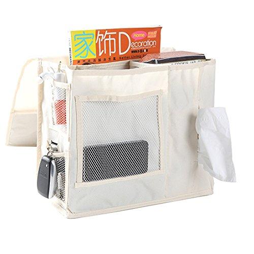 VOIMAKAS Bedside Hanging Storage Bag, 6 Pockets Oxford Cloth Organizer Bag for Book Magazine Phone Tissue TV Remote Accessory - White by VOIMAKAS